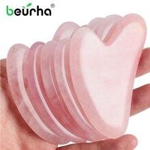 Китайский массажный ролик Guasha с розовым кварцем для лица, для похудения, тела, шеи, природы, устройство, роликовый камень для ухода за кожей