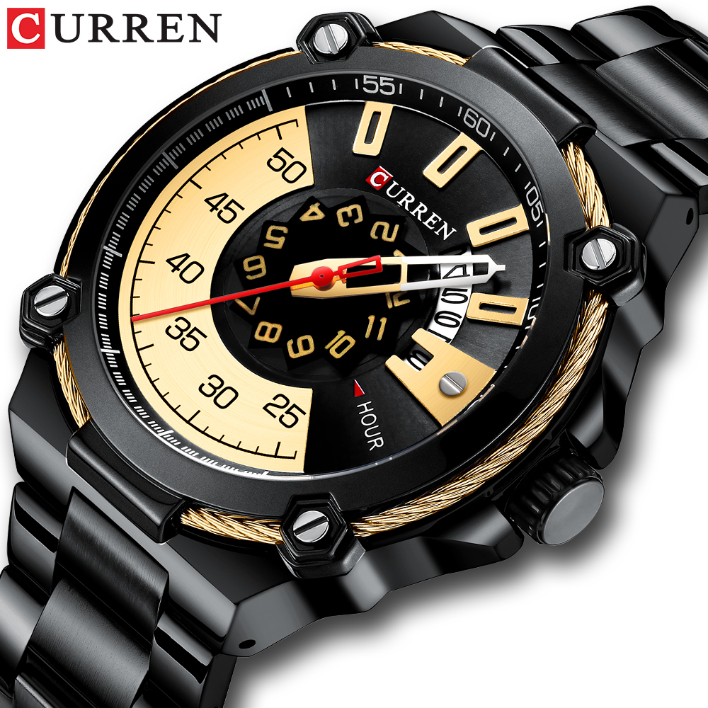 Luxury Design Watch For Men CURREN Quartz Military Watch Business Stainless Steel Date Wristwatches Male Clock Reloj Hombres