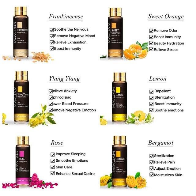 10ML Lavender Essential Oil Diffuser Pure Essential Oils Rose Eucalyptus Jasmine Vanilla Mint Sandalwood Tea Tree Aroma Oil 4