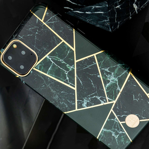 Image 2 - Original Kingxbar Back Case For iPhone 11 Pro Max Fashion Jade Stone Marble Hard Protective Cover Case With Built in Metal Plate