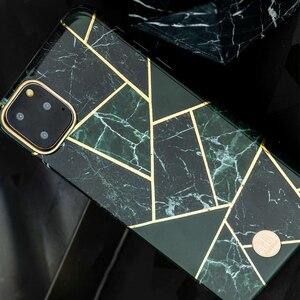 Image 2 - Original Kingxbar Zurück Fall Für iPhone 11 Pro Max Mode Jade Stein Marmor Harte Schutzhülle Fall Mit Gebaut in Metall Platte