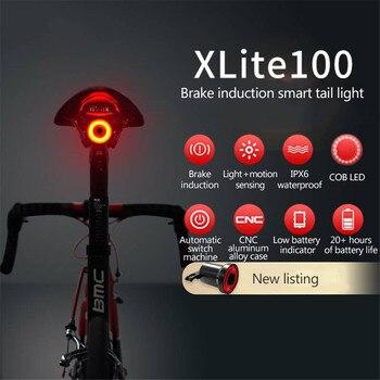 Lumières de vélo rechargeables USB capteur Intelligent clignotant frein vélo feux arrière montagnes vélo tige de selle lumières de vélo intelligentes