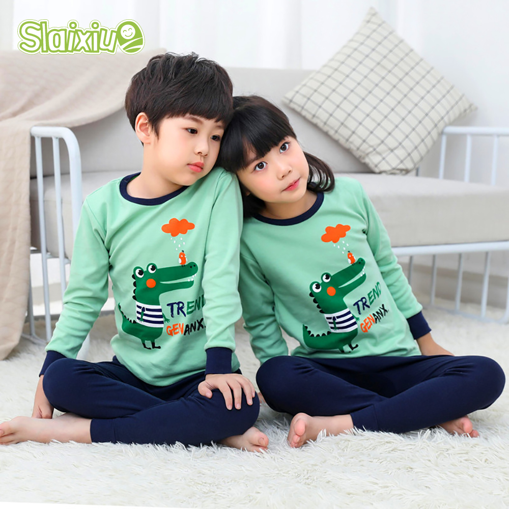 Kids Children Pajamas  Girls Boys Sleepwear Nightwear Baby Infant Clothes All Cotton Pajamas SetS For 5-13 Years
