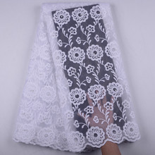 Pure White French Milk Silk Net Lace Fabric 2019 High Quality Beaded African Tulle Nigeria Wedding S1513
