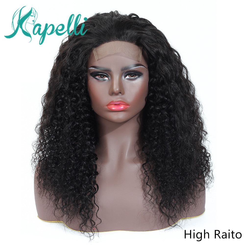 Wigs Lace-Wig Short Human-Hair Curly Pre-Plucked Natural Women Black 4x4 for 150-% Closure title=