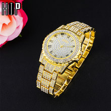 Hip Hop Luxury Mens Iced Out Watches Date Quartz Wrist