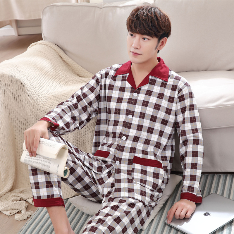 Men's Large Size Lattice Printed Long-sleeved Lapel Buttonto Tops Pants Pajamas 2 Piece Set Loose Thin Air-conditioned Homewear