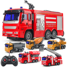 RC Engineering Truck Mixing Crane Water Spouting Fire Truck Remote Dump Car Model Children's Toys Boys Birthday Christmas Gifts
