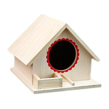 Bird Pet Nest Wooden Birdhouse Small Outdoor Garden Parrot Bird Nest Wooden Bird House Bird Cage Pet Supplies 3