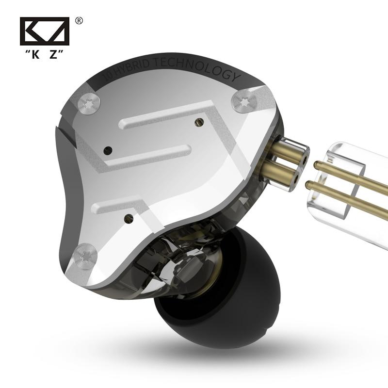 Наушники-вкладыши KZ ZS10 PRO, гибридные металлические Hi-Fi наушники 4BA + 1DD, Спортивная гарнитура с шумоподавлением, KZ ZSX ZAX ASX ZST ZSN PRO ES4 AS16