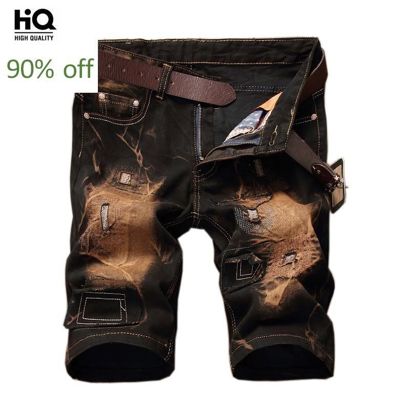 2020 Mens Summer Jeans Pants Ripped Hole Denim Shorts For Men Slim Fit Vintage Breeches Personalized Knee Length Jeans Plus Size