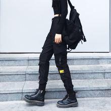 Черные Мешковатые брюки карго для женщин с эластичной резинкой