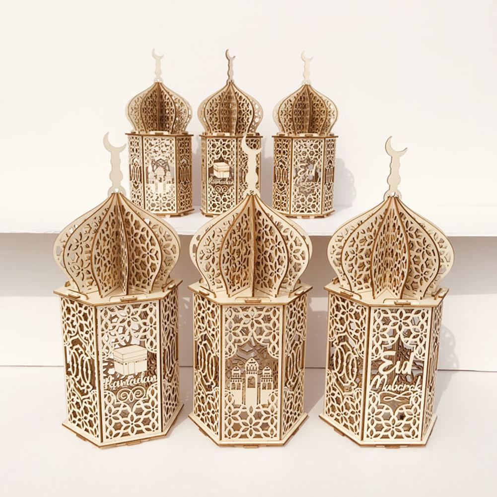 2020 decoraciones Ramadán Eid Mubarak hogar LED luz colgante de madera lámpara de luz nocturna colgante perfecto ornamento DIY 5D diamante pintura Ángeles y demonios decoración del hogar cuadrado completo artesanía Kits perla de bordado imágenes de diamantes de imitación