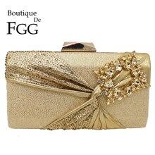 Boutique De FGG złoty błyszczący brokat łuk kobiety torebka wieczorowa typu Clutch Bridal diamentowe torebki ślubna kryształowa torba Party Cocktail Bag