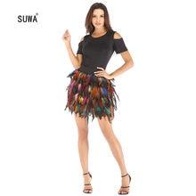 Mini jupes Patchwork à plumes colorées, nouveau Design Streetwear pour femmes, taille au-dessus du genou élastique, 4 couleurs, vente en gros