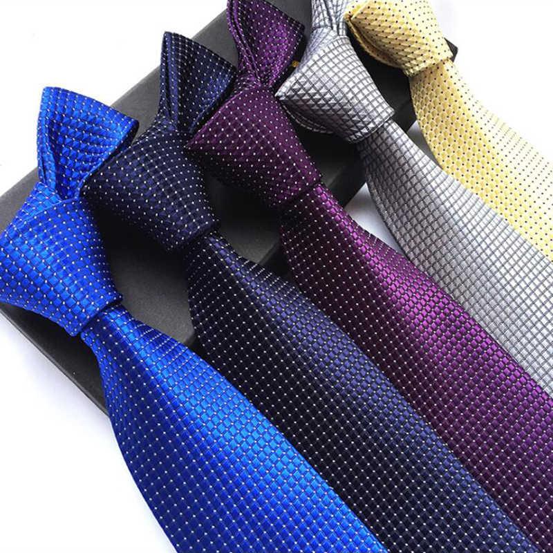 新ファッションストライプチェック柄のメンズネクタイ赤青灰色古典首ネクタイレジャービジネス結婚式高品質 8 センチメートルシルクネクタイ