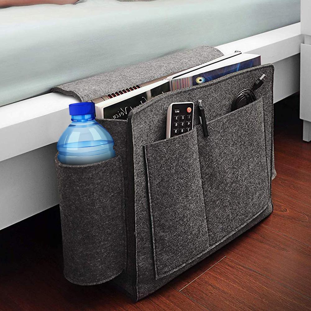 Felt Bedside Hanging Organizer Extra Large Bed Storage Pockets Holder Pockets Book Phone Storage Bag For Bed Table Sofa
