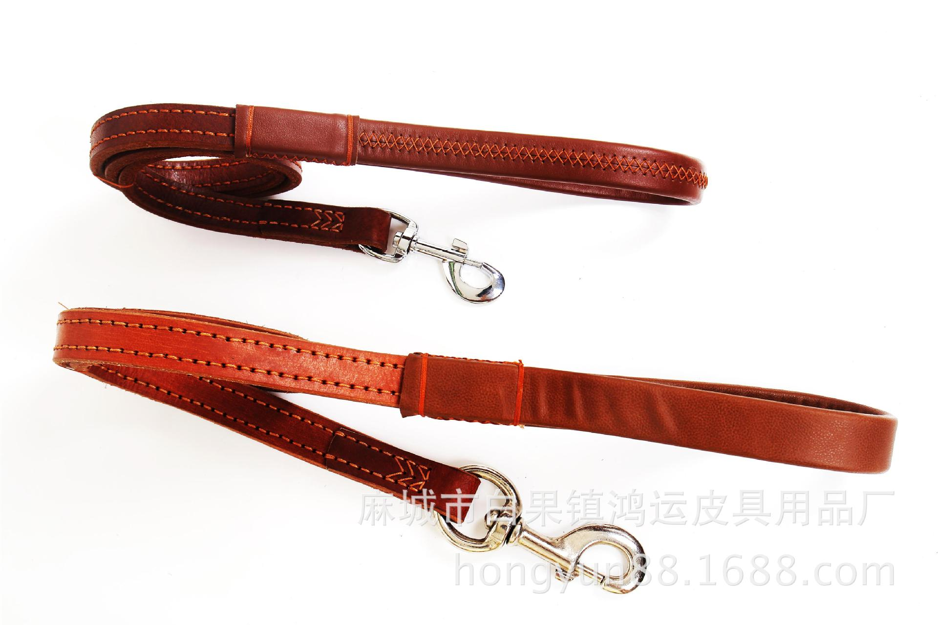 Cowhide Leather Double Stitching Hand Shoulder Tape Double Layer Cowhide Short Hand Shoulder Tape Large Dog Genuine Leather Doub