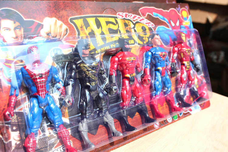 Marvel Superhero Avenger Iron Man Superman Batman. .. Action Grafiek 15*9 Cm Set Van 5