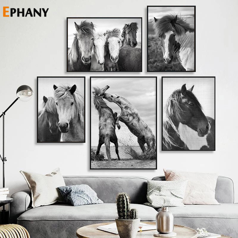 Black White Horse Wall Art Canvas Posters and Prints Minimalist Animal Painting Picture for Living Room Modern Home Decoration