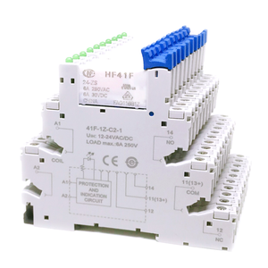 Image 3 - 5pcs HF41F 24 ZS 12 ZS 5V 12V 24V 6A 1CO Slim Relay Mount On Screw Socket with LED and Protection Circuit 24VDC/AC Wafer relay