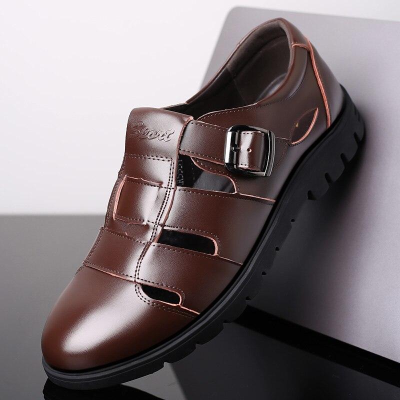 2019 Men Sandals Genuine Leather Sandals Men Outdoor Casual Men Leather Sandals For Men Beach Shoes Roman Shoes Plus Size 896