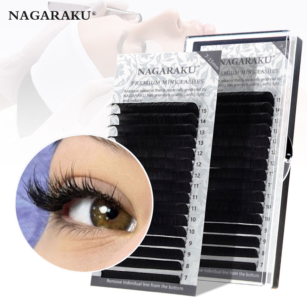 NAGARAKU Fast Ship 16rows/case 7~15mm mix premium natural synthetic mink individual eyelash extension makeup maquiagem cilios 1