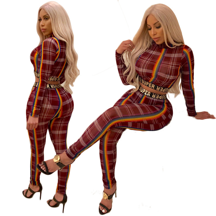 2019 Hot Selling European And American Women's Printed Striped Long Sleeve Two Piece Knit Sports Suit