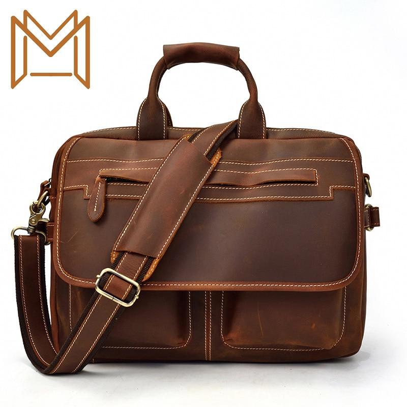 Man Crazy Horsehide Briefcase Genuine Leather Computer Package Leisure Time Single Shoulder Satchel Work Handbag