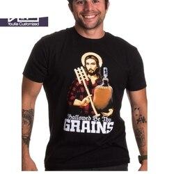 Engraçado dos homens t camisa da marca de verão tshirt santificado seja teus grãos engraçado cerveja cerveja brewing brew homebrew casa camiseta sbz340