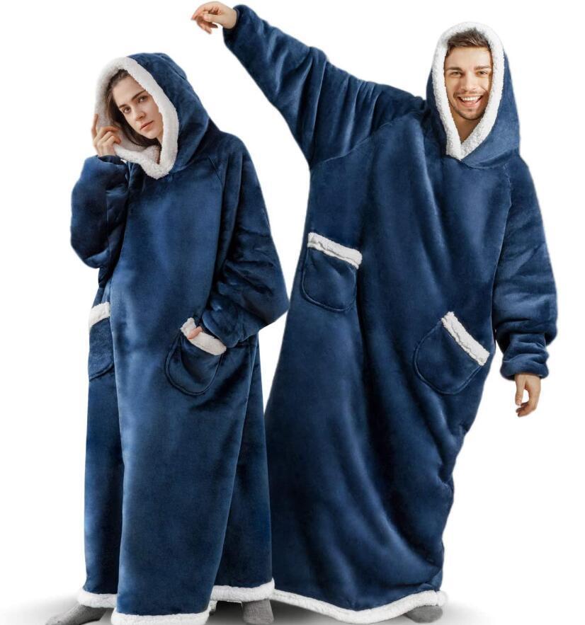 Супердлинное фланелевое одеяло с рукавами, Зимние толстовки, свитшот, женский и мужской пуловер, Флисовое одеяло оверсайз WF032