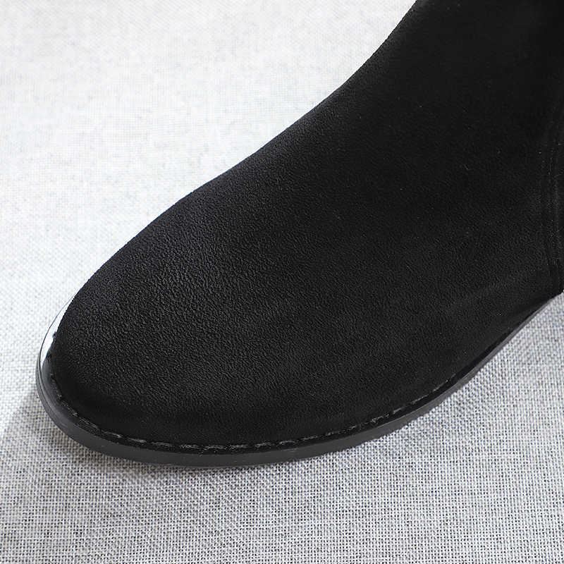 เข่ารองเท้าสตรียาวแน่นสูงขา Zip Up เซ็กซี่ Boot ฤดูหนาว 2019 สีดำ 2.5 ซม. สแควร์ Low Heel Flock รองเท้าผู้หญิง