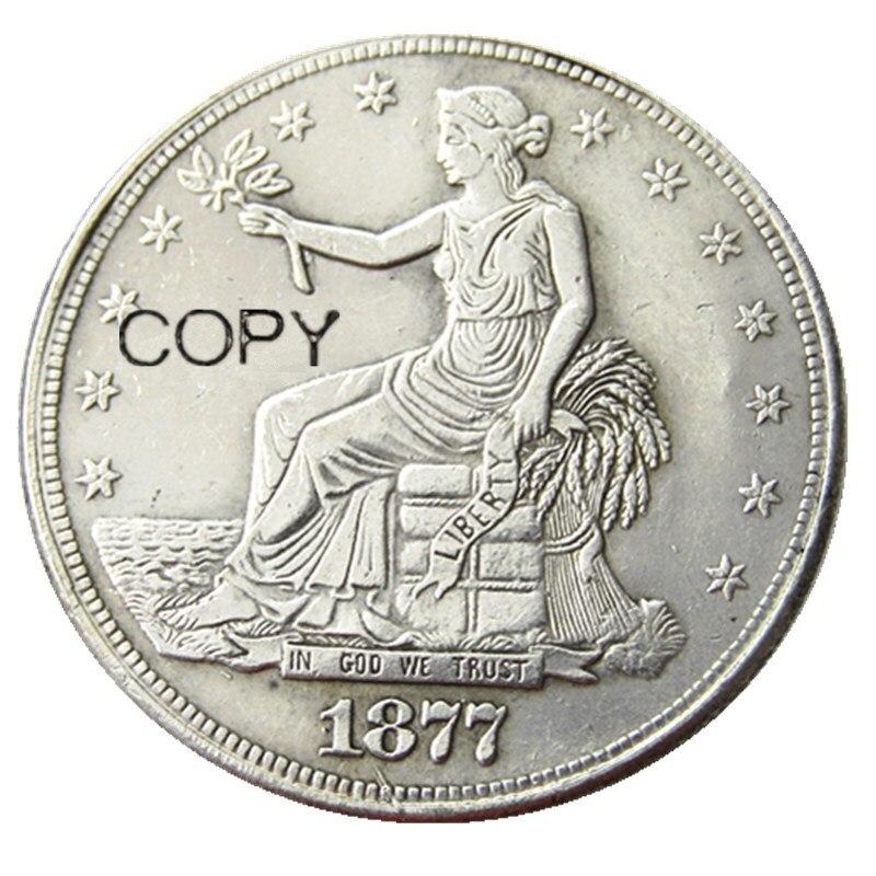 NÓS Moedas de Dólar Comercial 1877 CAPS copiar Moedas de Prata Banhado