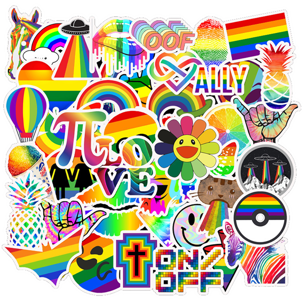 50PCS Rainbow Colorful Graffiti Girl Stickers Car Motorcycle Travel Luggage Phone Guitar Skateboard DIY Waterproof Joke Stickers(China)