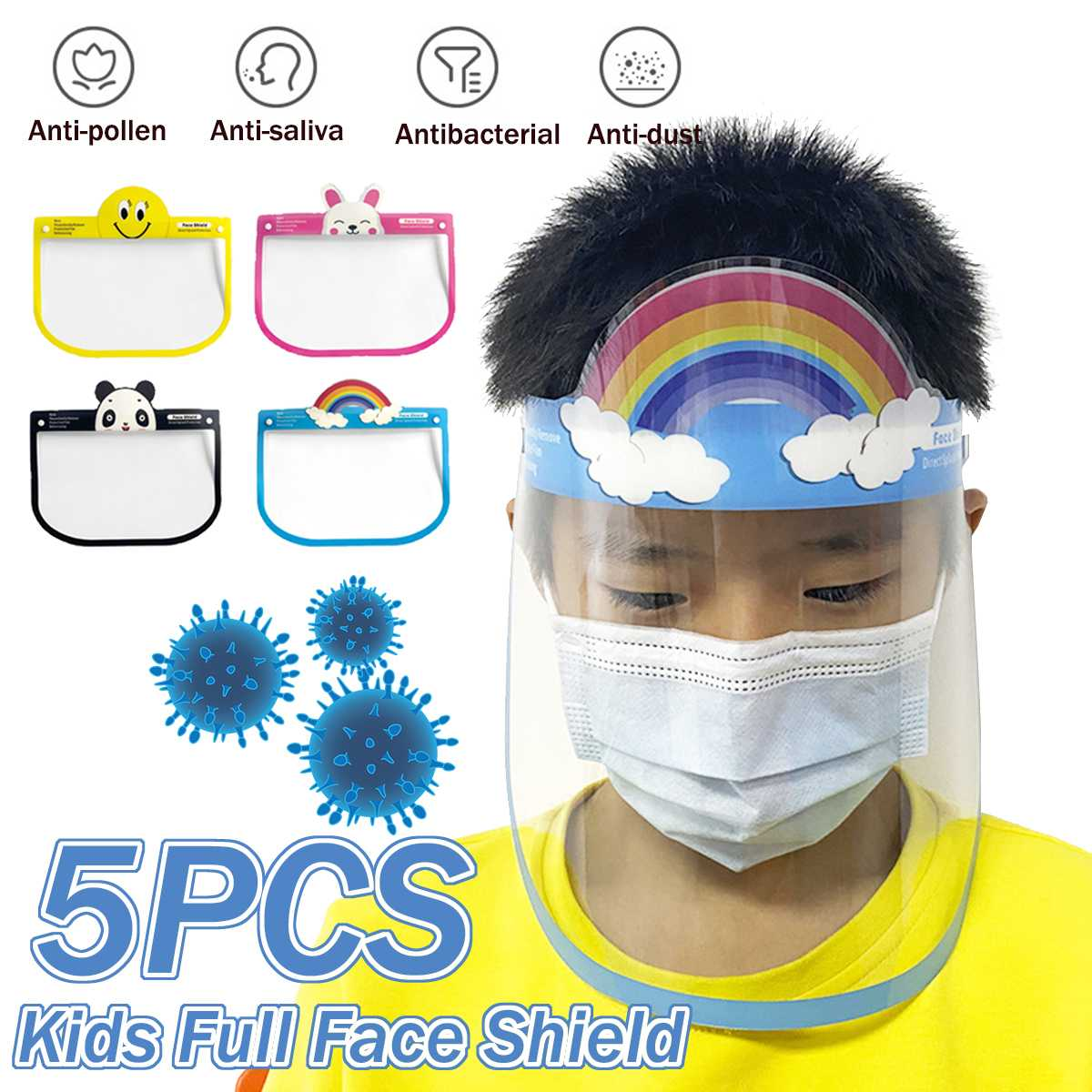 5pcs Transparent Face Shield For Kids Fog-proof Adjustable Dust-proof Protective Face Mask Rotatable Head-Mounted Full Face Mask