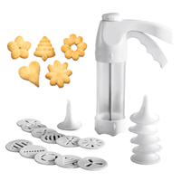 Cookie Press Kit Machine Cookie Making Cake Decoration 12 Press Molds & 6 Pastry Piping Nozzles Cookie Tool Biscuit Maker|Waffle Molds|   -