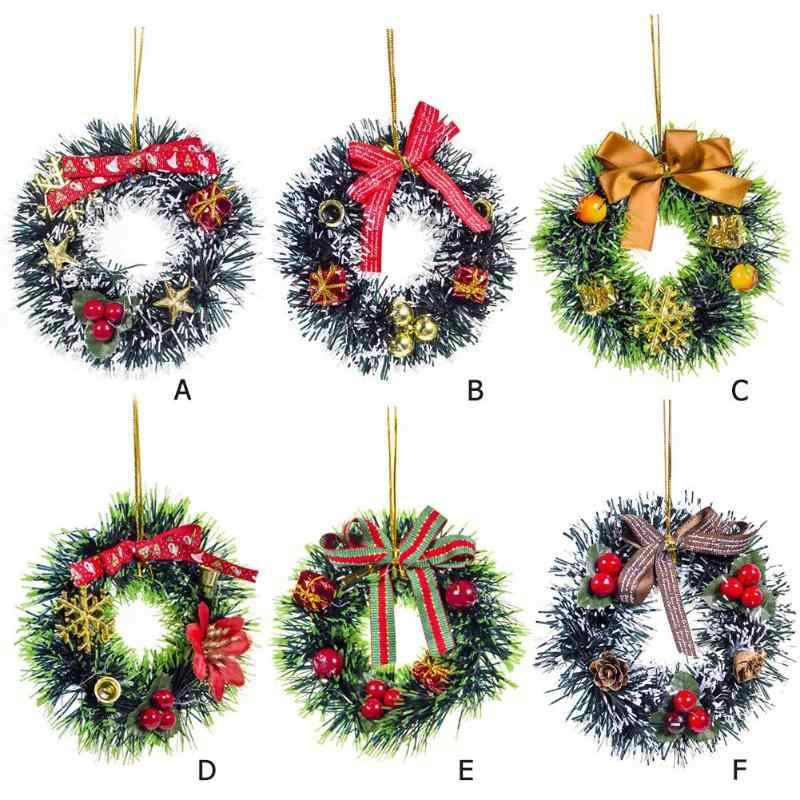 12 Cm PVC Karangan Bunga Natal Dasi Kupu-kupu Liontin Rotan Reed Wreath Festival Taman Rumah Pesta Dekoratif Aksesoris 2020