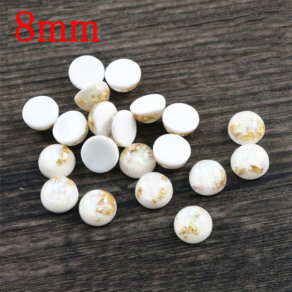 New Fashion 8mm 40pcs/Lot White Color Built-in Metal Foil Flat Back Resin Cabochons Cameo V7-35
