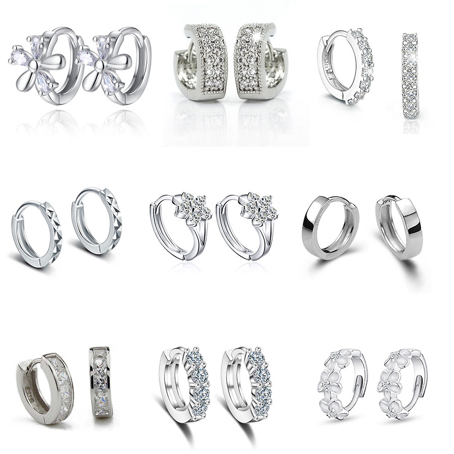 New Fashion Simple Earrings Hoop Stud 925 Sterling Crystal Zircon Row Silver Huggie Earrings Stud For Women Female Jewelry