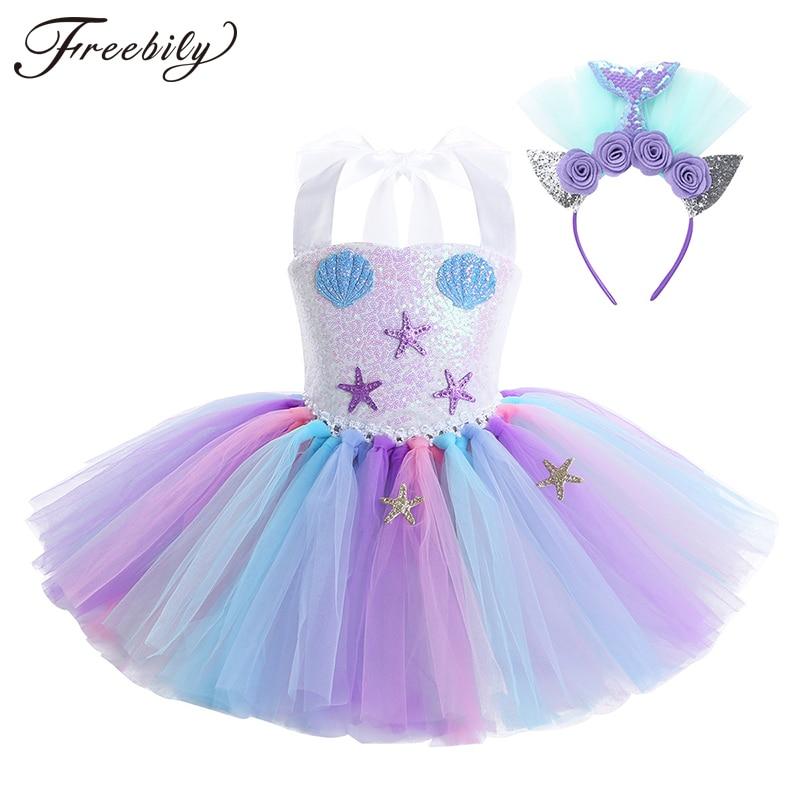 Kids Girls Princess Mermaid Costume Halter Sequin Mesh Tutu Dress with Hair Hoop Set Children Halloween Cosplay Party Dress Up