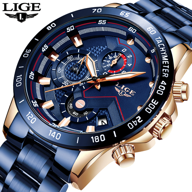 LIGE Men Watches Top Brand Luxury Stainless Steel Blue Waterproof Quartz Watch Men Fashion Chronograph Male Sport Military Watch 6