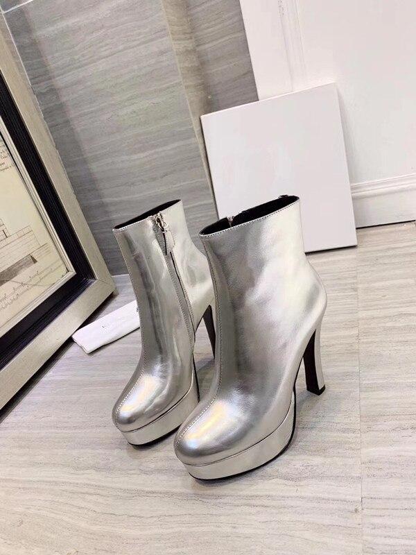 Модные ботинки ботильоны на высоком каблуке с острым носком ботинки с принтом змеи г. Зимняя женская обувь на блочном каблуке черные ботинки в стиле панк - Цвет: Серебристый