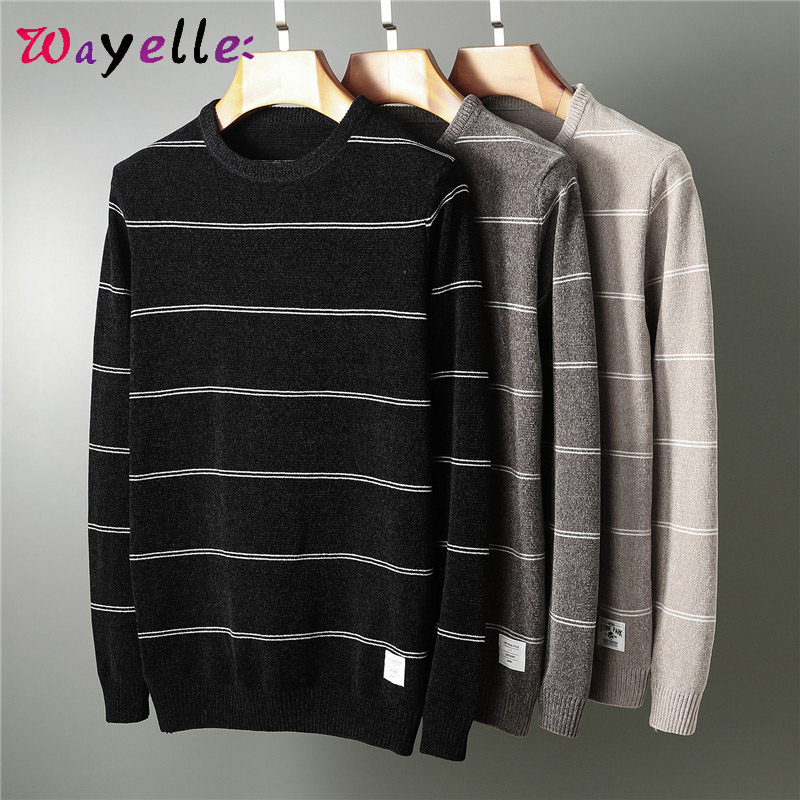 Men Winter Sweater Pullovers O-Neck Knitted Men Sweaters 2019 Business Casual Stripe Knitted Sweaters Men Plus Size Sweater