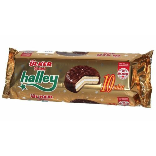 Ulker-Halley-10 Pieces -Chocolate-covered-Marshmallow-Sandwich