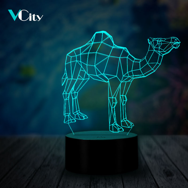 VCity Camel 3D Animal Lamp Multicolor Illusion Night Light Touch Remote Base Acrylic Plate USB LED Creative Atmosphere Lighting image