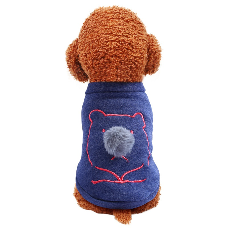 Bear Pattern Pet Long Sleeve Clothing With Fluffy Ball Nose Fleece 2 Legged Soft T-shirt for Small Medium Large Dogs XS-XL