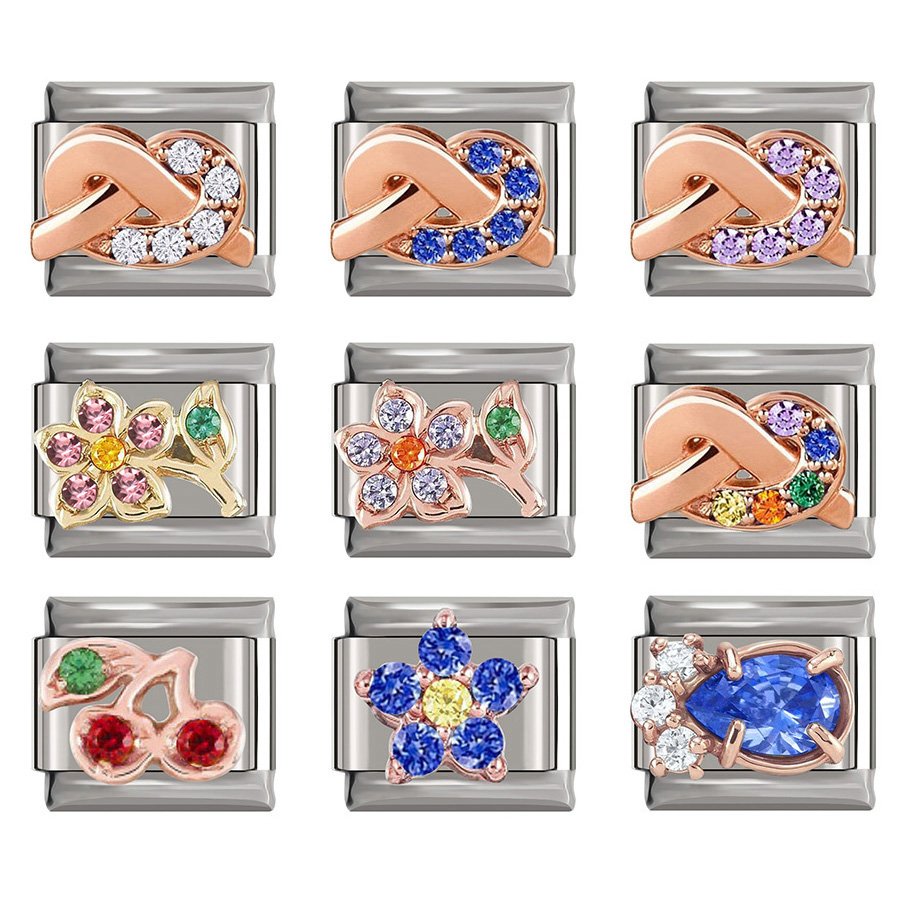Fyour pulseira de 9mm, rosa, estrela, flor, desejamento, cz, italiano, para filha, pulseira de aniversário para meninas dj222