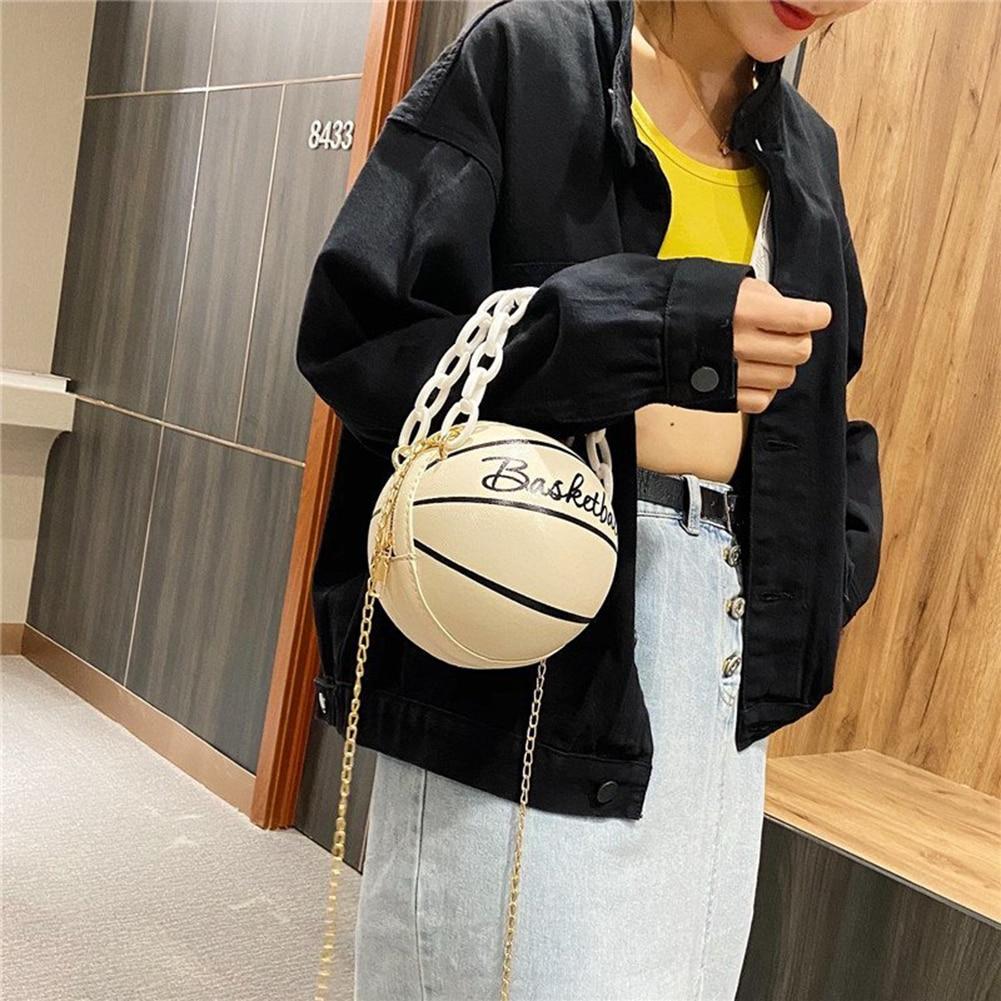 Индивидуальная Женская баскетбольная сумка из искусственной кожи, новинка 2020, кошельки для подростков, круглые сумки на плечо, женская сумка через плечо с цепочкой-3