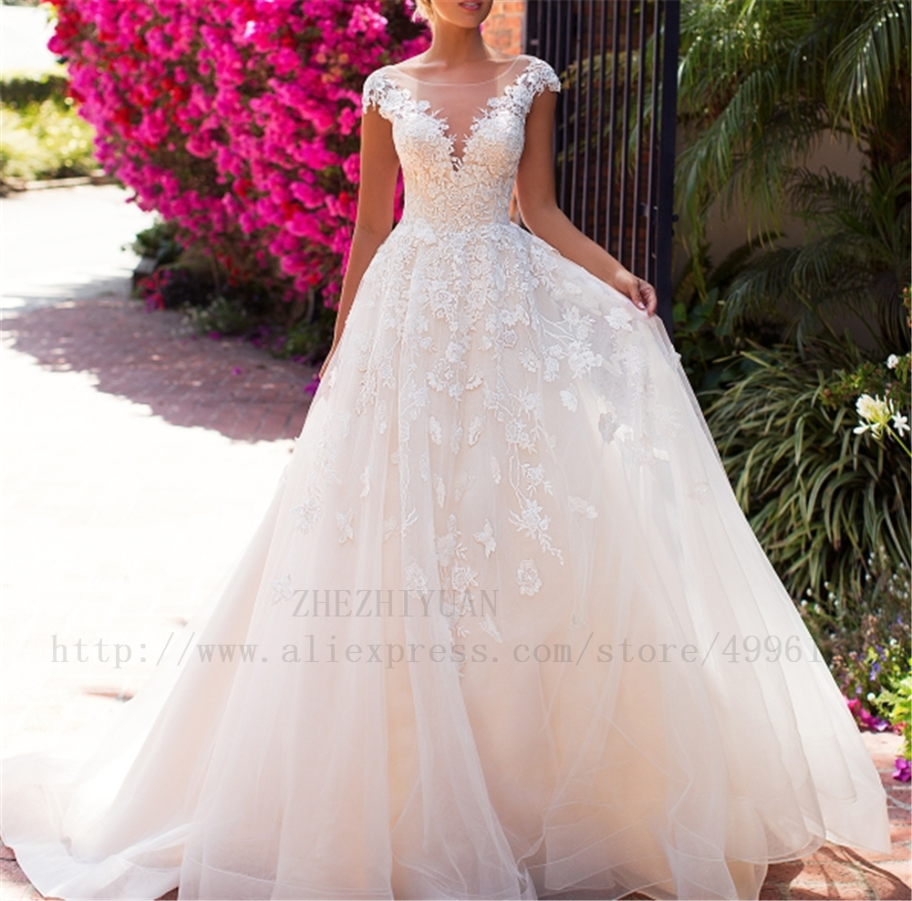 Backless Cap Sleeves Illusion Ivory Beading Appliques Embroidery On Net Ball Gown Vestido Noiva Plus Size Wedding Dresses 2019
