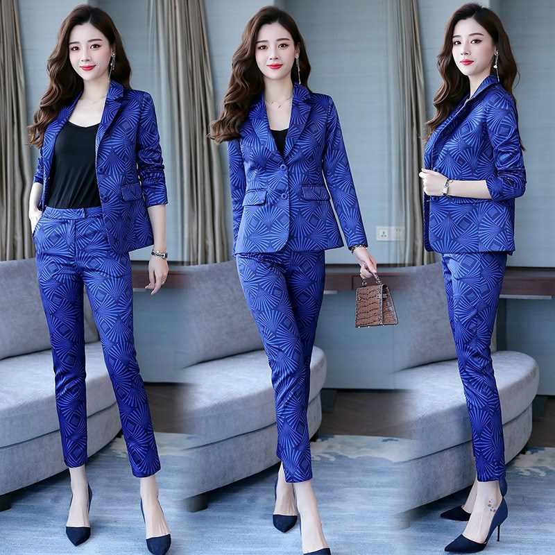 Elegant Office Wear Professional Suit Notched Women Printed Small Suit Trousers Ol Two-Piece Blazer Suit